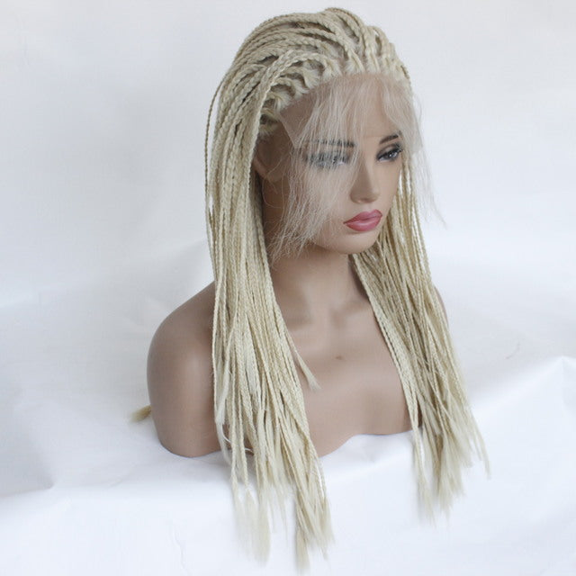 African Small Volume Braided Three-Headed Scorpion Long Straight Beige Wig