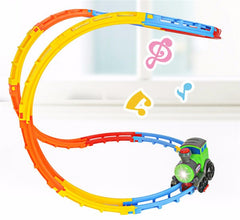 DIY Electric Car Racing Track Light Music Creative Roll Fancy Car Toy Train Electric Toys