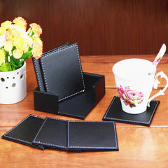 6PCS Double Deck Leather Coasters Placemat PU Black Cup Mat