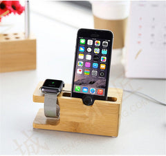 Bamboo Wood Display Charging Platform Stand Station Bracket For Apple Watch 38/42mm iPhone 6S Plus