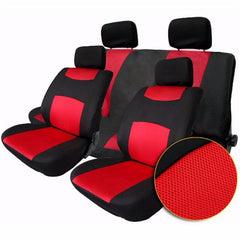 Tirol Breathable Universal Car Seat Cushion Covers Gray Red for SUV Sedans 10Pcs