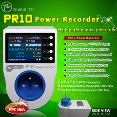 PR10-D 16A France Plug Power Recorder Electric Energy Meter with Measure Record Alarm Timing Function 0.1~4000W