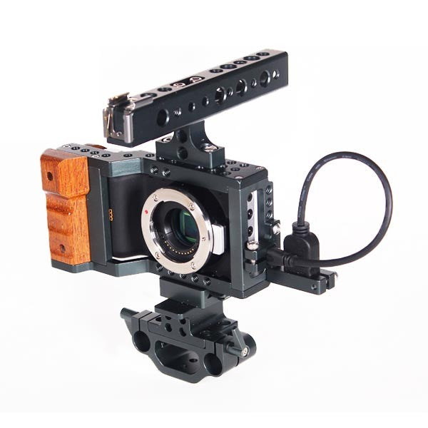 BMPCC DSLR RIG Cinema Camera Armor Cage Kit With 15mm Rod Top Handgrip For BlackMagic Pocket Camera