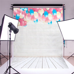 5x7ft Studio Photography Backdrop Background Props Lovely Balloon Wood Floor