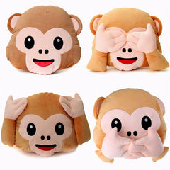 Monkey Emoji No Hand/Listening/Saying/Looking Smiley Cushion Pillow Toy Doll
