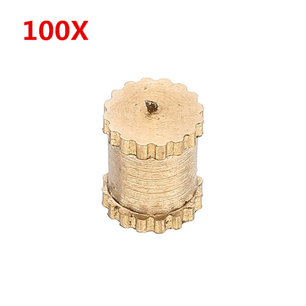 100Pcs M3 x 5mm Brass Single Pass Knurled Nuts Female Thread Blind Hole Insert Embedded Nuts