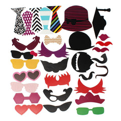 76PCS DIY Photo Booth Props Decor Moustaches Tie Glasses Wedding Party Christmas Accessories