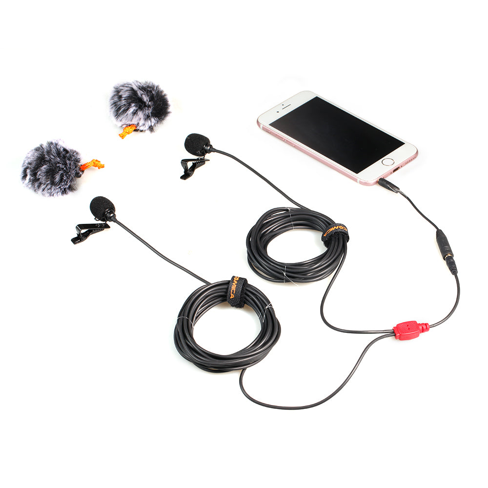 Comica D02 Dual Mic Lavalier Microphone for Action Camera Smart Phone DSLR Camera