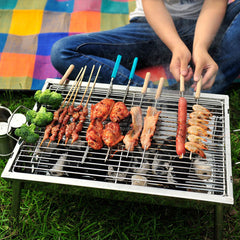 Portable Thickened Outdoor Picnic And Home Charcoal BBQ Grill Stainless Steel Folding Grill