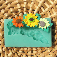 Three Sunflower Cake Mold Fondant Soap Mould