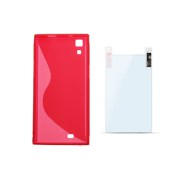 Red TPU Back Cover Case+Original Screen Protector For THL T100s