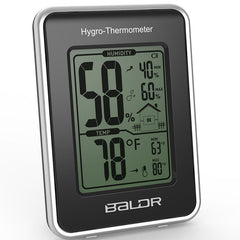 BALDR B0109TH Digital Weather Station Thermometer Hygrometer Humidity Temperature Meter with Home Indoor MAX/MIN Record