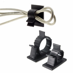 10PCS Black Adhesive Cord Wire Cable Clips Ties Organizers Wall Mounted Clamps