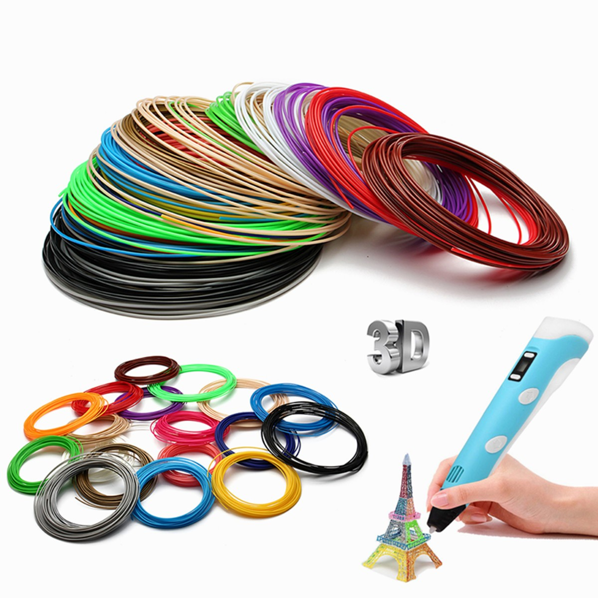 20pcs 1.75mm ABS Printing Filament Modeling For 3D Printer Pen Drawing 10m-pcs 200m In Total