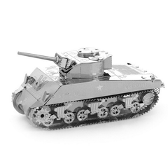 Aipin DIY 3D Puzzle Stainless Steel Model Kit Sherman Tank Silver Color