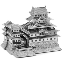 Aipin DIY 3D Puzzle Stainless Steel Model Kit Himeji Castle Silver Color