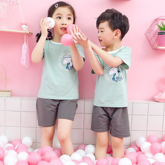 New Boys And Girls T-shirt Two-piece Childrens Short-sleeved Suit Baby Home Service