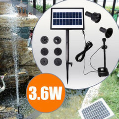 9V 3.6W Solar Power DC Brushless Water Pump Garden Landscape Fountain With White LED