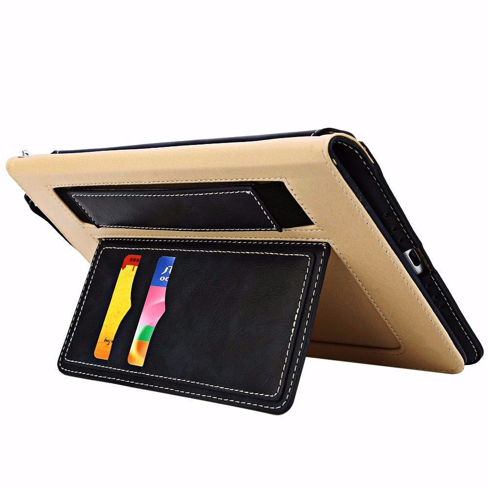 Solid Color Stylish Multifunction Card Slot Full Cover Lanyard Leather Case For iPad Mini 4
