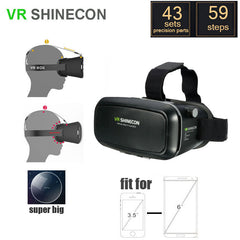 3D VR Shinecon Video Glasses Virtual Reality For iPhone 6S Plus 6Plus Samsung HTC Smartphone