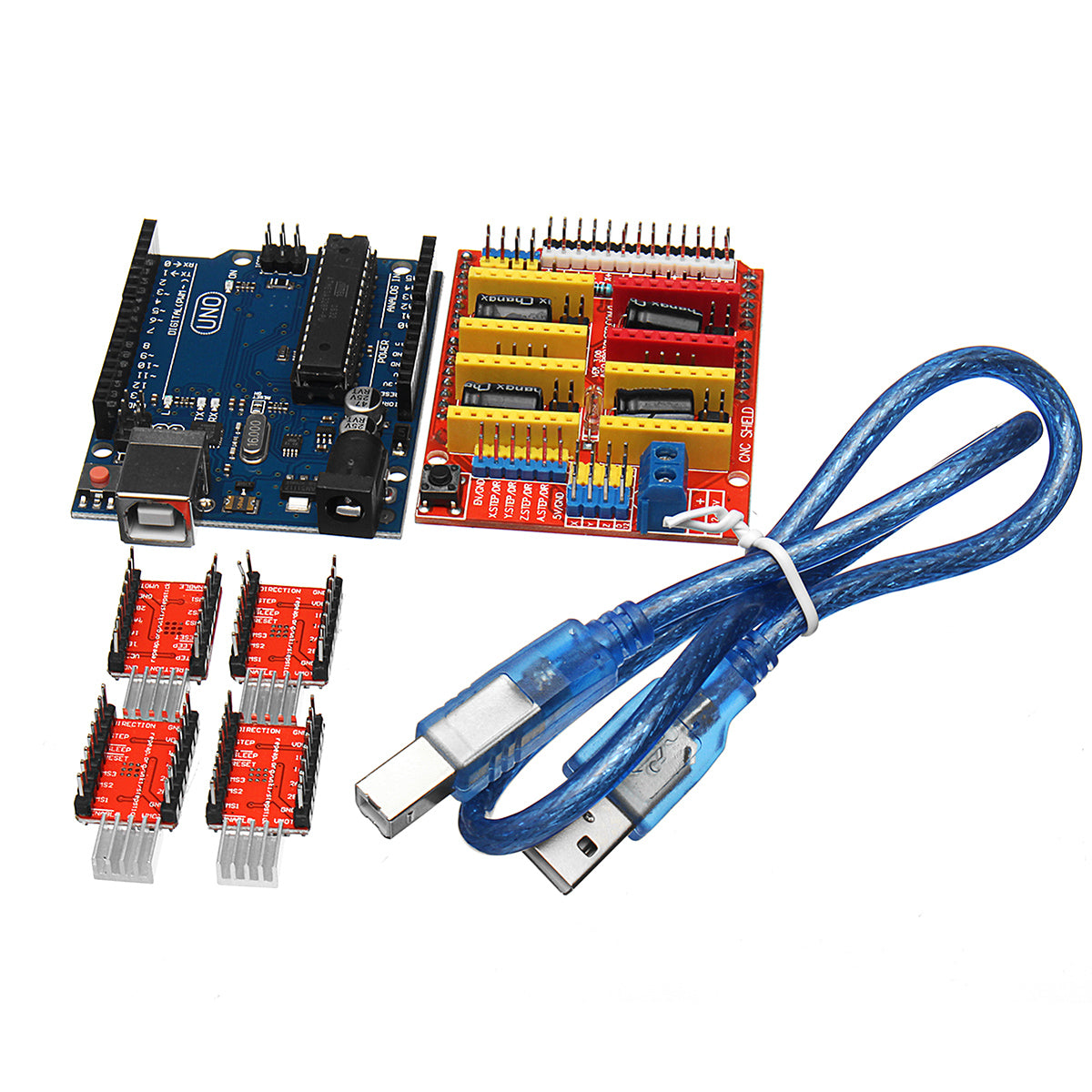 CNC Shield V3 + UNO R3 Board + 4*A4988 Driver + USB Cable 3D Printer Kit For Arduino