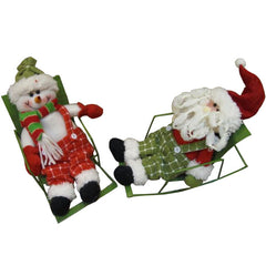 Cute Snowman Santa Sitting On Rocking Chair Christmas For Gift Decoration