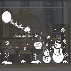 Large Christmas Snowman Snowflake Santa Wall Decal Vinyl Window Sticker Kids Art Decoration