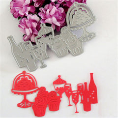 Wine Cup Glasses Bottle Embossing Die Cutting Stencil Template Scrapbooking Card Album Decor Tool