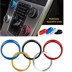 1pcs Car Alu Decorative Covers Stereo A/C Knob Circles Ring for Volvo S60 V60 XC60 S60L S80 V40