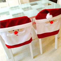 Christmas Santa Claus Red Hat Christmas Chair Cover Dinner Table Decor