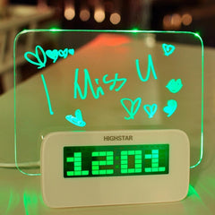 HIGHSTAR Model A Fluorescent Message Board Alarm Clock Digital Calendar Thermometer Fluorescent Light