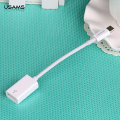 Usams 130MM White Type C Cable For Macbook Data Sync Charge USB-C To USB Adapter