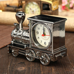 Retro Train Creative Alarm Clock Vintage Simulation Steam Train Quartz Alarm Clock Decor Gift
