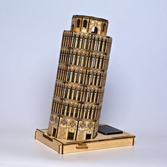 DIY 3D Solar Wooden Puzzle Leaning Tower of Pisa Toy Model