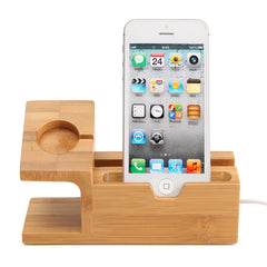 Bamboo Desktop USB Charging Docking Station Holder Stand For Apple Watch iPhone Samsung Xiaomi