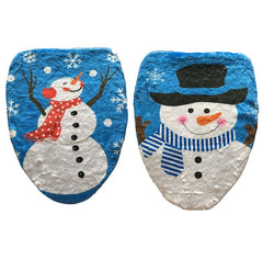 Bathroom Christmas Snowman Toilet Seat Cover Happy Santa Closestool Decorations