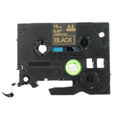 TZe-334 12mm 8m Gold On Black Labeling Tape Label Maker For Brother P-touch
