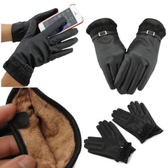 Women's Winter Warm PU Leather Click Touch Screen Magic Gloves