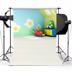 3x5Ft Spring White Flower Wall Red Car Background Studio Props Photography Backdrop