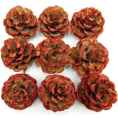 Christmas Tree decoration Red Real Pine Cone