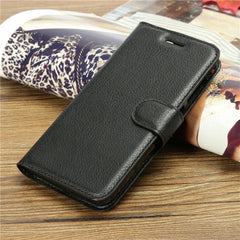 Litchi Leather Slot Wallet Stand Case Cover For DOOGEE Y100 Pro
