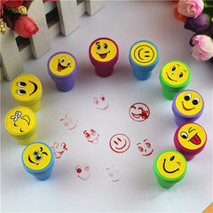 10Pcs Emoji Smile Silly Face Stamps Set Stationery For Kids Gift Party