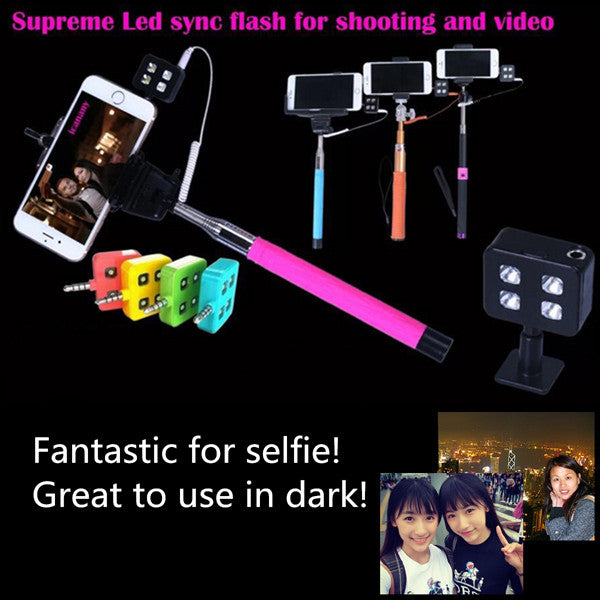 Portable 4 LED Enhancing Flash Fill Light For iPhone Universal Smartphone Selfie Stick