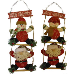 Funny Snowman Santa Claus On Ladder Christmas Hanging Decoraton