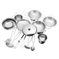 16PCS Stainless Steel Pan Pot Dish Kitchenware Kitchen Unit Toy Kids Role Play Toys