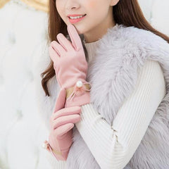 Women Ladies Lace Plush Knitted Touch Screen Winter Full Finger Windproof Gloves For Cellphone