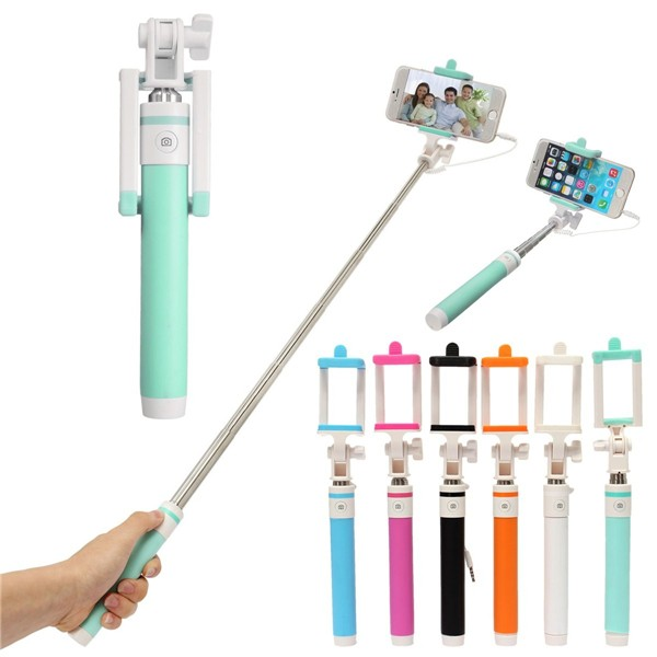 Extendable Handheld Wired Control Double Color Selfie Stick Remote Shutter Monopod For Phone
