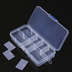 10 Compartment Plastic Clear Slots Adjustable Organizer Craft Box
