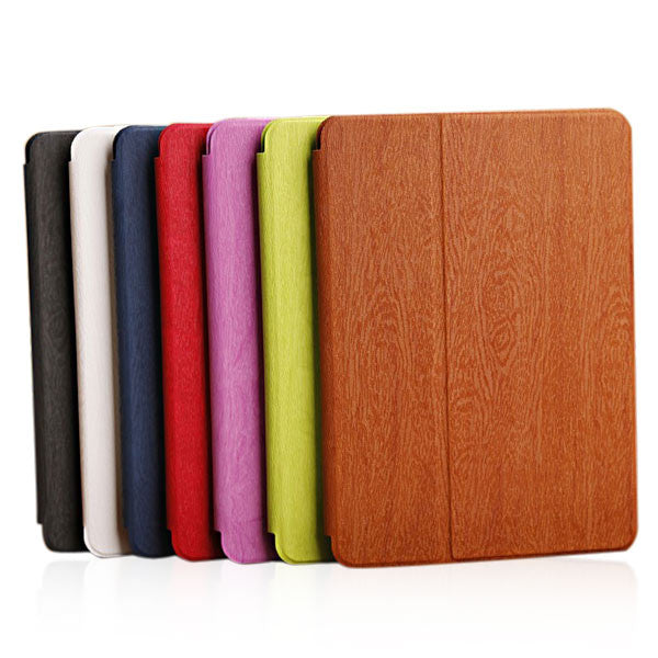 Wood Grain Folding Stand PU Leather Case Cover For iPad Air