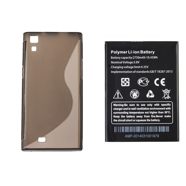 Original Replacement Battery+Black TPU Back Case For THL T100s T11